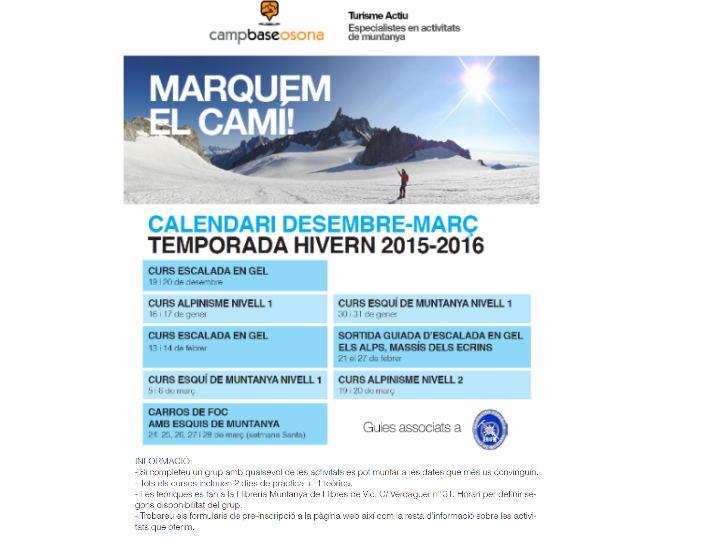 CURSOS DE MUNTANYA CAMP BASE OSONA