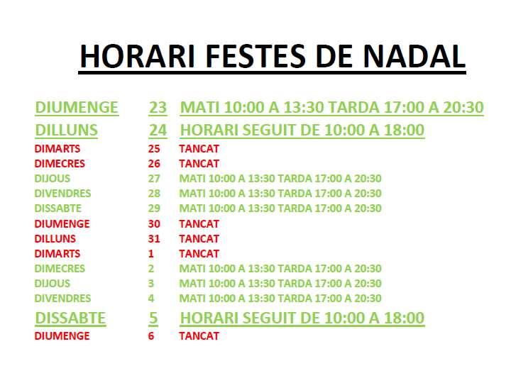HORARIS FESTES DE NADAL